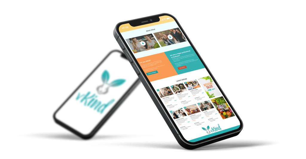 translucent background with vkind app shown on smartphone. second smartphone in the back with vkind logo.