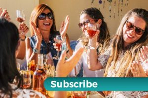 several women having wine and talking with subscribe overlaid.